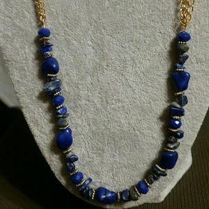 Jewelry - Lapis Lazuli Blue & Pyrite Gold Necklace